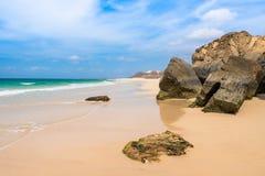 Verandinha beach Praia de Verandinha  in Boavista Cape Verde - Royalty Free Stock Photo