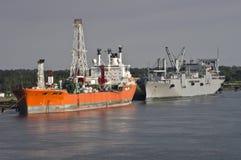 Verankerde schepen Stock Fotografie