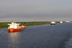 Verankerde schepen Royalty-vrije Stock Afbeelding
