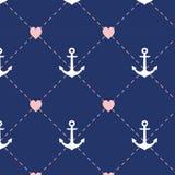 Verankern Sie Muster, nahtlose Liebeshochzeit und Valentinsgruß Abbildung Lizenzfreie Stockbilder