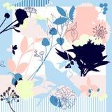 Verano, colores del otoño Bufanda de seda con las amapolas florecientes stock de ilustración