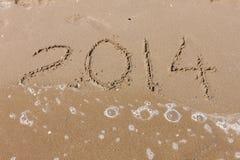 Verano 2014, dígitos en la playa Imágenes de archivo libres de regalías