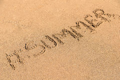 Verano de Hashtag en Sandy Summer Beach Fotos de archivo