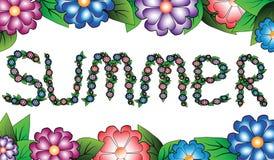 Verano de la inscripción en un alcance floral Imagen de archivo libre de regalías