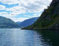 Verano de Noruega de la naturaleza Agua, fiordo del bosque en un día soleado foto de archivo