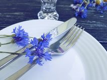 Verano del arreglo del diseño del banquete del abastecimiento del menú de los acianos de las flores, placa, cuchillo de la bifurc Fotografía de archivo