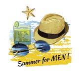 Verano del fondo con las letras, gafas de sol, pizarras, cielo Fotos de archivo libres de regalías