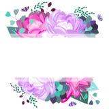 Verano del vector, marco de la primavera, plantilla con los piones, flores, succulents, hojas, follaje Diseño de moda, romántico, stock de ilustración