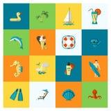 Verano e iconos planos simples de la playa ilustración del vector