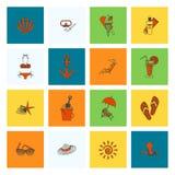 Verano e iconos planos simples de la playa stock de ilustración