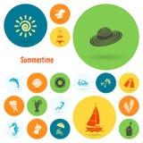 Verano e iconos planos simples de la playa libre illustration
