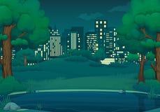 Verano, ejemplo del vector de la noche de la primavera Lago o río con los árboles y los arbustos verdes enormes paisaje urbano en stock de ilustración