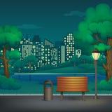 Verano, ejemplo del vector del parque de la noche de la primavera Lámpara del banco de madera, del cubo de la basura y de calle e libre illustration