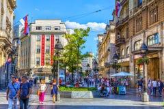 Verano en calle del mihajlova del knez Imagen de archivo