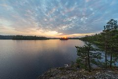 Verano en un lago del bosque fotografía de archivo libre de regalías