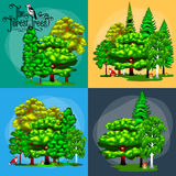 Verano Forest Tree verde y pequeños animales en naturaleza salvaje Árboles determinados del vector de la historieta en parque al  Imágenes de archivo libres de regalías