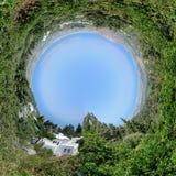 Verano hermoso 360 grados de panorama de la costa de mar imagenes de archivo