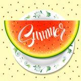 Verano Hola verano Sandía en una placa Fotografía de archivo libre de regalías