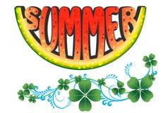 Verano Hola verano Sandía en una placa Fotografía de archivo