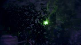 Verano, noche, partido de la espuma, en los rayos de los sofitos, la espuma se inunda, las burbujas de jabón brilla intensamente  ilustración del vector
