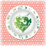 Verano Placa blanca con los ornamentos florales Imagen de archivo libre de regalías