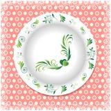 Verano Placa blanca con los ornamentos florales Imagenes de archivo