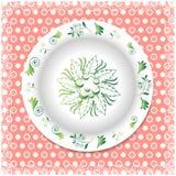 Verano Placa blanca con los ornamentos florales Fotografía de archivo