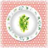 Verano Placa blanca con los ornamentos florales Fotos de archivo libres de regalías