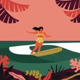 Verano que practica surf el cartel retro stock de ilustración