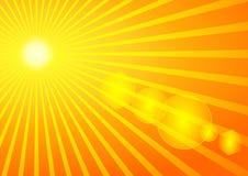 Verano Sun con la flama solar stock de ilustración
