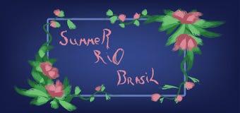 Verano tarjeta dibujada mano del Brasil, Río con el marco floral sobre fondo azul Fotografía de archivo