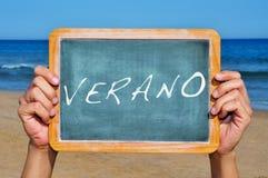 Verano, verão no espanhol Foto de Stock Royalty Free