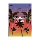 Verano y diseño del cartel del partido de la playa Plantilla del aviador de la invitación con la palmera tropical Bandera moderna Foto de archivo libre de regalías