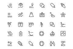 Verano y línea iconos 3 de la playa ilustración del vector
