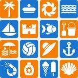 Verano y pictogramas de la playa ilustración del vector