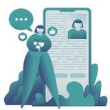 Veranschaulichung des Jugendbloggerm?dchens nahe dem Smartphone, der Freunde sucht und Sammeln von Gleichen stockfoto