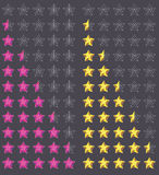 Veranschlagen mit fünf Sternen Stockfoto