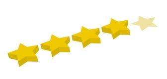 Veranschlagen mit vier Sternen Stockbild