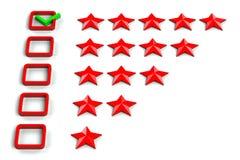 Veranschlagender Sterne Checkbox Lizenzfreie Stockfotografie