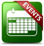 Veranstaltungskalenderikonengrün-Quadratknopf Stockbilder