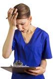 Överansträngd doktor/sjuksköterska Arkivbilder