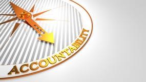 Verantwortlichkeit auf Weiß mit goldenem Kompass Stockfotos