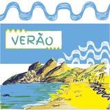 Verao, texto do português do verão Imagem de Stock Royalty Free