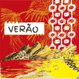 Verao, texto do português do verão Fotografia de Stock Royalty Free