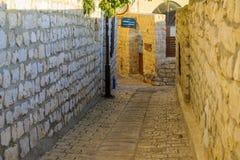 Verbündeter mit dem Abuhav-Synagogezeichen, in Safed ( Tzfat) Lizenzfreie Stockfotografie