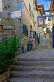 Verbündeter mit verschiedenen Zeichen, in Safed ( Tzfat) Lizenzfreies Stockfoto