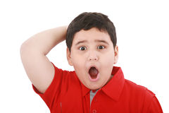 Verbaasd jong geïsoleerd jongensportret Stock Foto