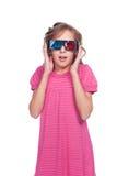 Verbaasd meisje in 3d glazen Royalty-vrije Stock Afbeeldingen