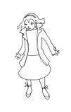 Verbaasd zwart-wit meisje Vector Illustratie