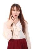 Verbaasde jonge Aziatische vrouw Royalty-vrije Stock Afbeelding